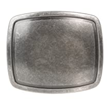 Western Plain Rectangular Hammered Vintage Belt Buckle (Antic Silver)