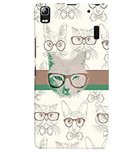 PrintVisa Animal Nerd Cat 3D Hard Polycarbonate Designer Back Case Cover for Lenovo A7000