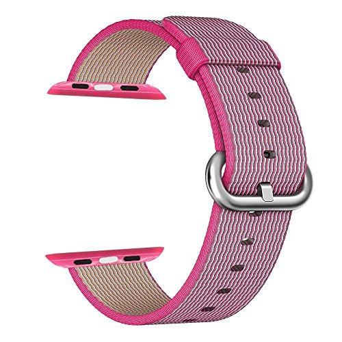 Apple Watch cinturino ,PUGO TOP Woven Nylon Replacement Wrist cinturino Bracelet Strap for Apple Watch/Apple Watch Series 2 (42mm , Rosa )