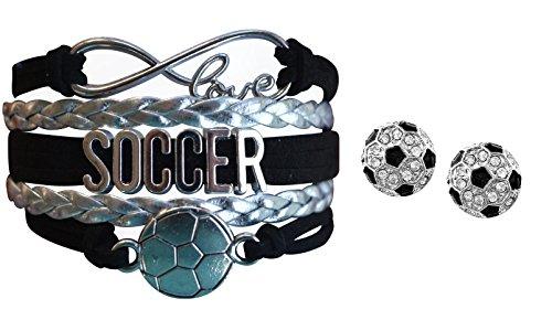 Girls Soccer Jewelry Set, Soccer Bracelet and Soccer Stud Earrings, Perfect Soccer Gifts for Girls (Earrings And Bracelet Set)