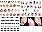 Nail Art Water Slide Tattoo Stickers / Geisha Girls / Big Monkey / Moustache - 3 pack with Bonus
