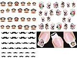 Nail Art Water Slide Tattoo Stickers / Geisha Girls / Big Monkey / Moustache - 3 pack with Bonus