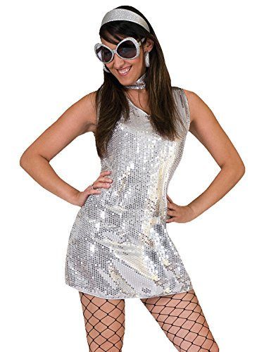 Sassy 70s Dress Womens Silver Sequin Disco Costume with Matching Choker