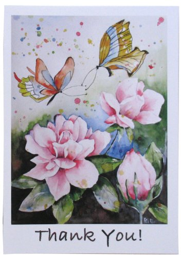 Thank You Cards Pink Roses Butterfly Notecards Romantic Wedding Thank You Cards Set of 10