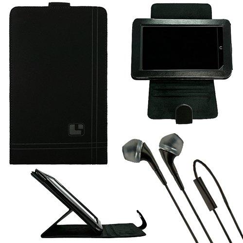 "Sumaclife Nubuck Standing Vertical Case For Hp Slate 7 Extreme 7"" Tablet + Black Vangoddy Headphones"