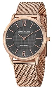 Stuhrling Original Classic Somerset Elite Men's Quartz Watch with Grey Dial Analogue Display and Stainless Steel Rose Gold Plated Bracelet 122.334454