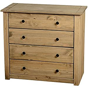 Home discount panama storage chest 4 drawer natural oak for Bedroom furniture amazon
