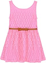 ODEMA Little Girls39 Sleeveless Crochet Lace Bow Madi A-line Dress