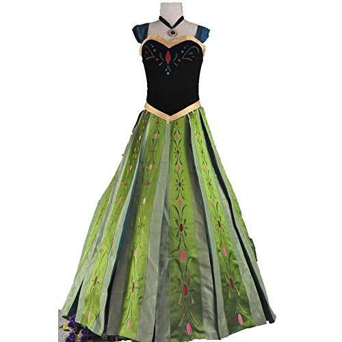Starkma 2015 Anna Princess Cosplay Dress Costumes Hand Embroidery for Adult Xs