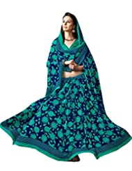 Blur Green Color Georgette Printed Saree With Blouse 7019