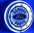 Genuine Ford Parts 18 Double Neon Lighted Clock Blue Sign