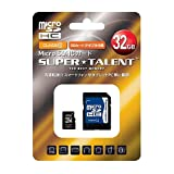 SUPER TALENT microSD 32GB Class10 SD�ϊ��A�_�v�^�t�� 3�N�ۏ� ST32MSC0A