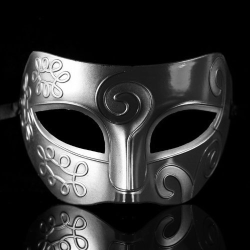 lucky Retro Roman Gladiator Halloween Party Facial Masquerade Mask - Silver & Black