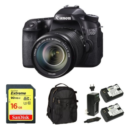 Canon EOS 70D Digital SLR Camera with 18-135mm STM Lens + Memory Card, Bag and Battery