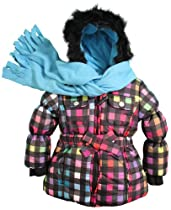 Rothschild Girls Toddlers Novelty Print Snowsuit Jacket with Scarf - Black (Size 3T)