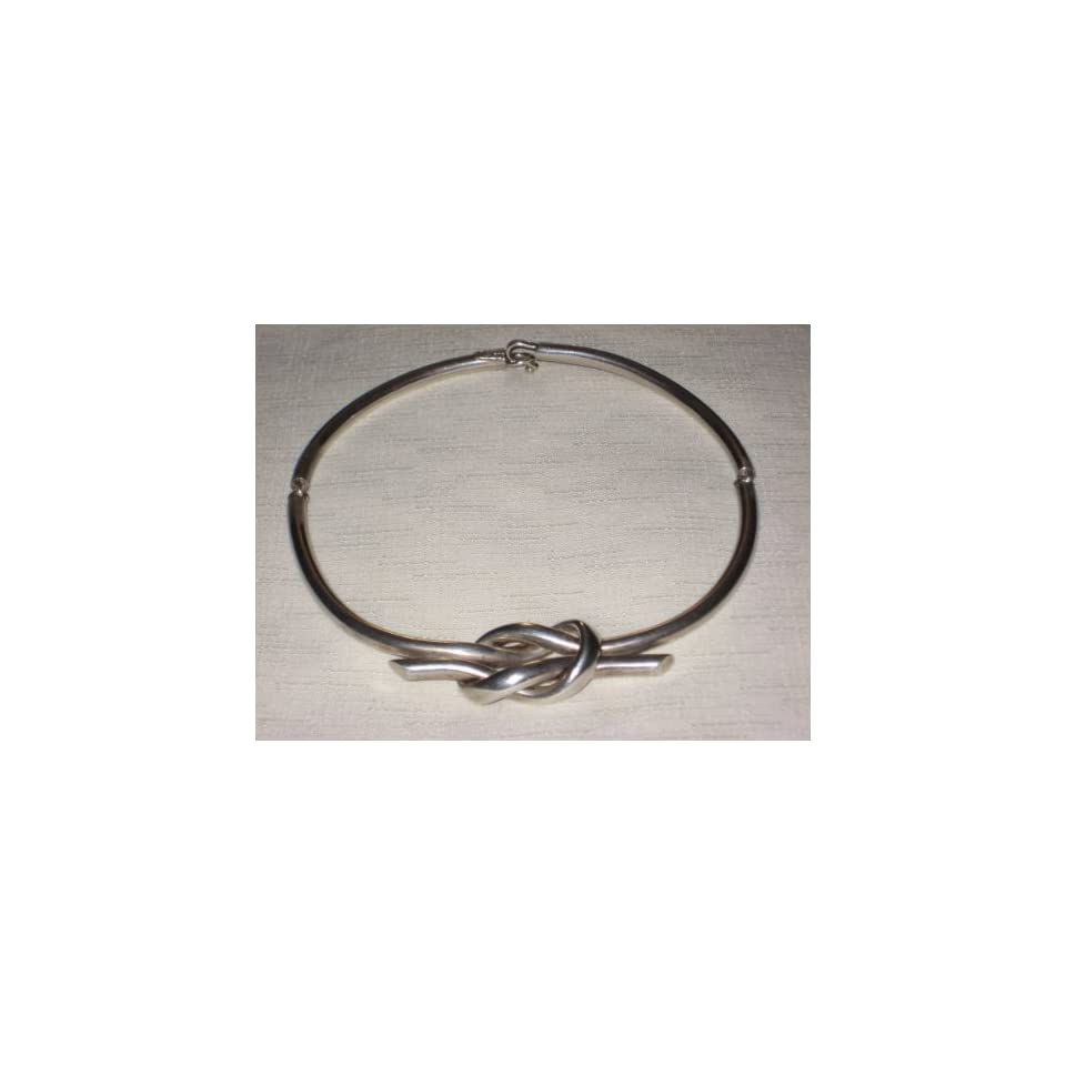 Vintage Taxco Heavy Mexican Mexico Sterling Silver 925 LOVE KNOT Choker 18 Inch Necklace   Hallmarked AAF 925 Mexico   64.9 Grams