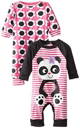 Gerber Baby-Girls Newborn 2 Pack Coverall, Panda, New Born