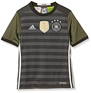 adidas Kinder UEFA EURO 2016 DFB Auswärtstrikot Replica, dunkel grau/weiß/grün, 128, AA0114