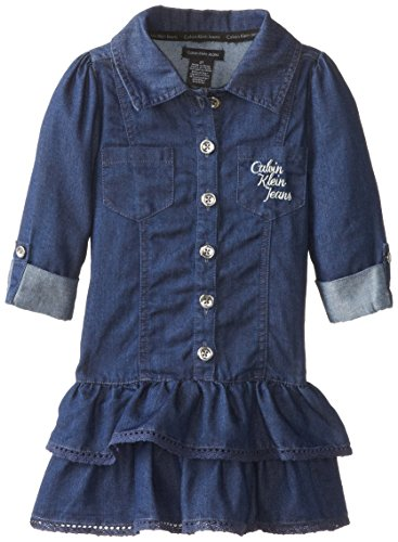 Calvin Klein Little Girls' Tiered Dress, Chambray, 4T front-409651