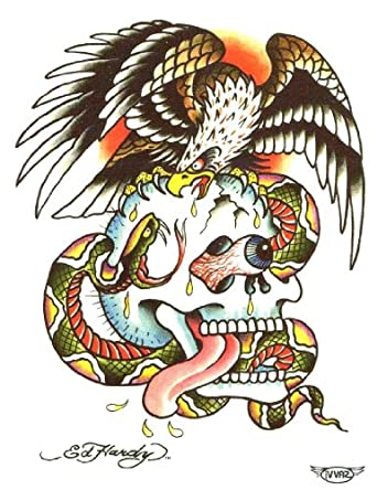 ed hardy skull eagle temporary body art tattoos 3 x 4 clothing. Black Bedroom Furniture Sets. Home Design Ideas
