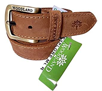 wood land mens camel brown genuine leather casual belt for