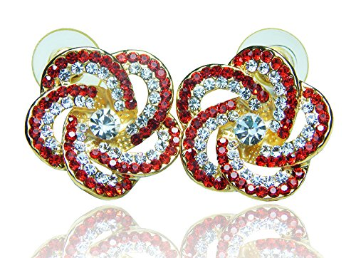 Halei Luxury Design Gold Plated White And Red Crystal Diamond Flower Shaped Stud Earrings.