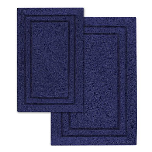 Superior 2 Piece Cotton Non Skid Bath Rug Set Navy Blue