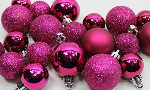20 Holiday Time Mini Shatterproof Satin Shiny and Glitter Finish Bulb Christmas Ornaments (Pink)