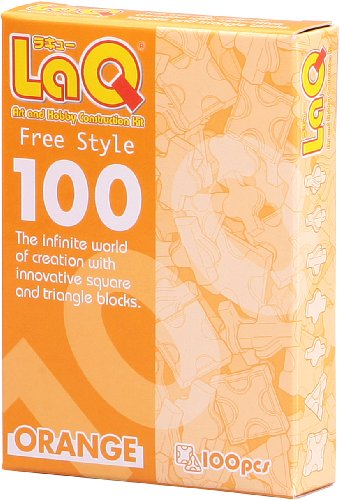 Laq Puzzle Bits Set Free Style 100 Orange Pieces! -Affordable Gift for your Little One! Item #DLAQ-000491 - 1