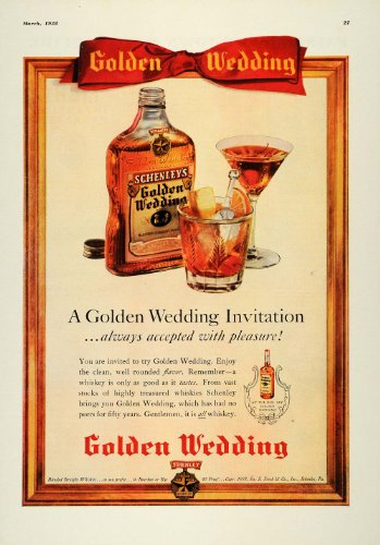 1938 Ad Schenley Golden Wedding Invitation Whiskies