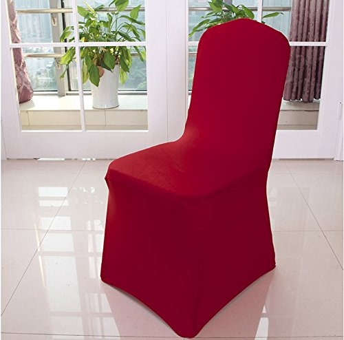 Avril-Hui Wine Red Stretch Spandex Chair Cover for Wedding Party Banquet