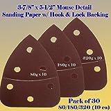 """30 Assorted Mouse Detail Sander Sandpaper Sanding Paper Velcro Hook & Loop Assorted 60 80 120 180 240 320 Grits 5.5"""" X 3.875"""" Grit for Black & Decker, Craftsman, Ryobi Cat Mouse, Skil,"""