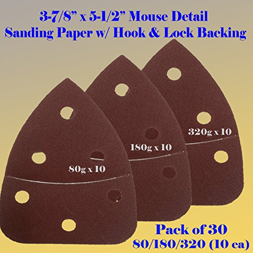Lowest Price! 30 Assorted Mouse Detail Sander Sandpaper Sanding Paper Velcro Hook & Loop Assorted 60...