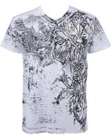 Sakkas Vignes et Fleur de Lys En relief argent métallique Manches courtes Col en V Coton T-Shirt Fashion homme