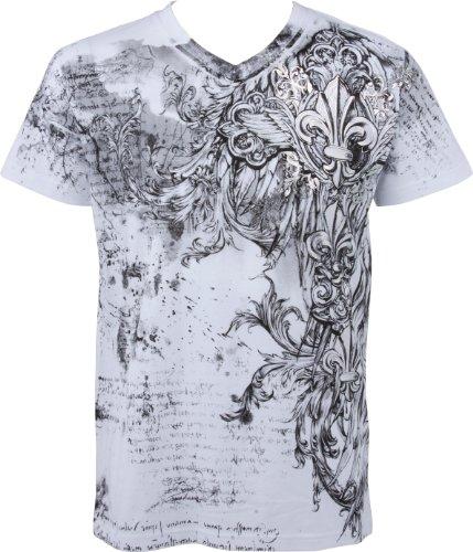 Sakkas Fleur De Lis e Vines Moda Uomo T-shirt a maniche corte con scollo a V con Silver metallizzato goffrato-Bianco-L