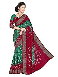 Morpankh enterprise Green Art Silk Saree ( dark green & red bandhni )