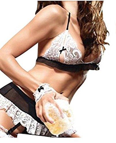 5 Stück Sexy Lingerie Schwarz und Weiss Spitze Teddy / Babydoll / Negligee Dessous Satz 36-40 günstig online kaufen