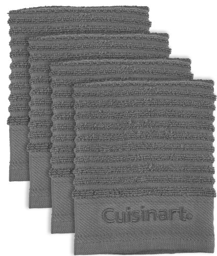 Cuisinart 4-Pack Terry Dish Cloths, Steel Grey