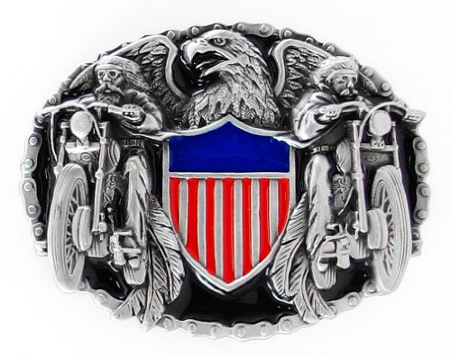 Pewter Belt Buckle - Two Bikers with American Shield - Pewter Belt Buckle