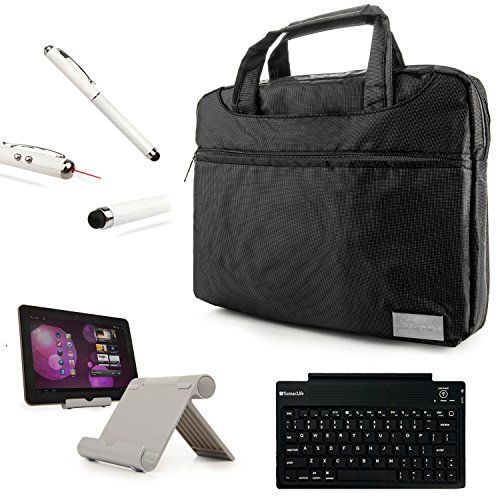 Nine-O Premium Nylon Carrying Shoulder Bag Case For Google Nexus 9 Tablet (8.9-Inch) By Htc + Bluetooth Keyboard + Foldable Stand + Stylus Pen