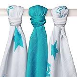 XKKO Stars - Pack de 3 muselinas de bamb�, estrellas turquesas, 70 x 70 cm, 90 gramos