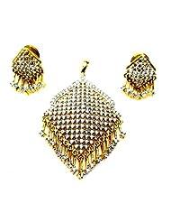 Poddar Jewels Cubic Zirconia Designer Pendant Set - B00S9HBFH8