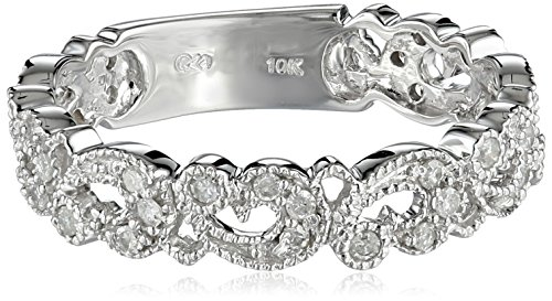 10k White Gold Diamond Ring (1/3 cttw, H-I Color, I3 Clarity), Size 8