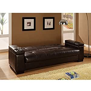 San Diego Faux Leather Convertible Sofa in Brown
