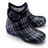 タータンチェックレインショートブーツ ブラック(プラッド) L