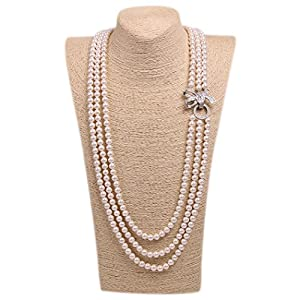 Wild Wind (TM) Elegant Luxy Diamond Bow Pearl Strands Necklaces (White Three Layers)
