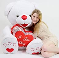 Giant Teddy Bear Soft White Romantic with Big Plush I LOVE YOU Heart Pillow 40 Inches Tall and 40…