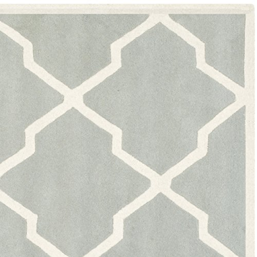 Safavieh Chatham Collection CHT735E Handmade Grey and Ivory Wool Square Area Rug, 7 feet Square (7' Square)