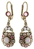 Michal Negrin Adorable Dangle Earrings Adorned with Pink and Beige Swarovski Crystals Flower Details; Handmade in Israel