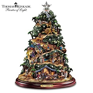 #!Cheap Thomas Kinkade Illuminated Nativity Tabletop Tree: Glory To The Newborn King by Hawthorne Village
